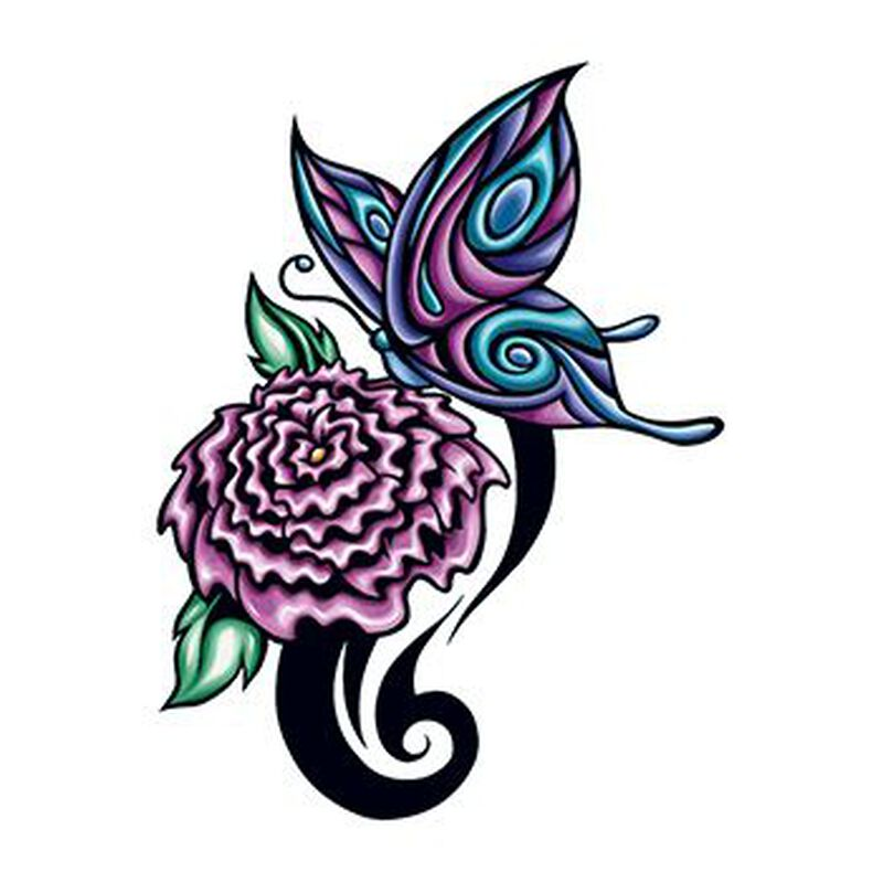 Flower and Butterfly Temporary Tattoo image number null