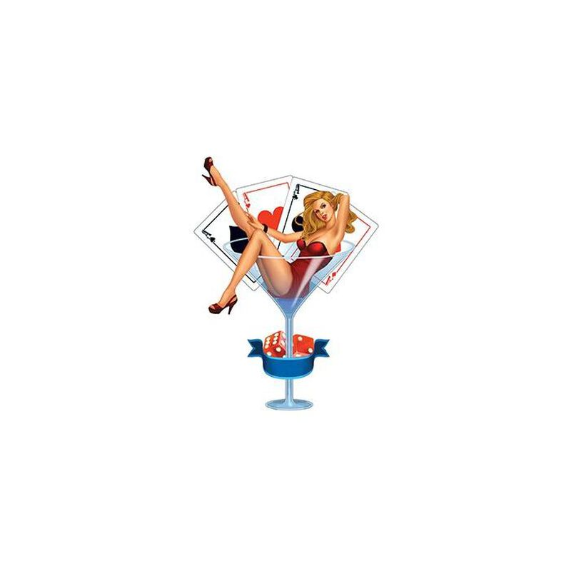 Martini Glass Pin-up Girl Temporary Tattoo image number null