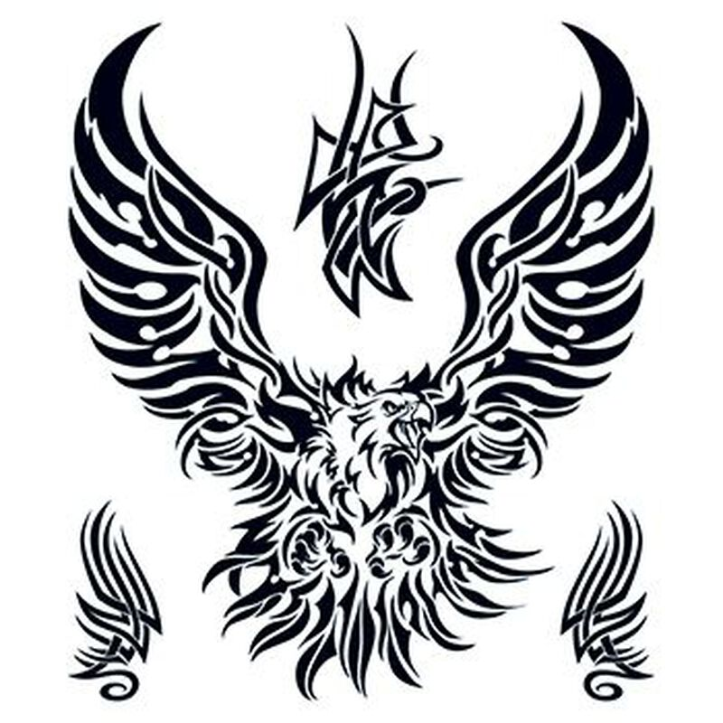 Large Tribal Eagle Temporary Tattoo Set image number null