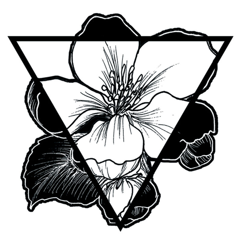 INVERSE FLOWER TRIANGLE TEMPORARY TATTOO image number null