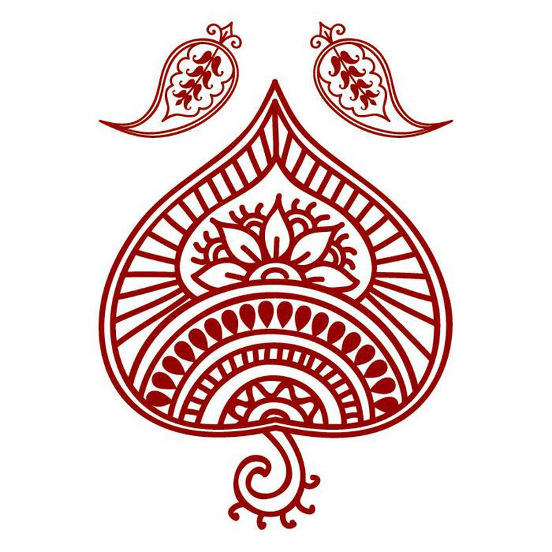 Henna: Red Traditional Design Temporary Tattoo image number null