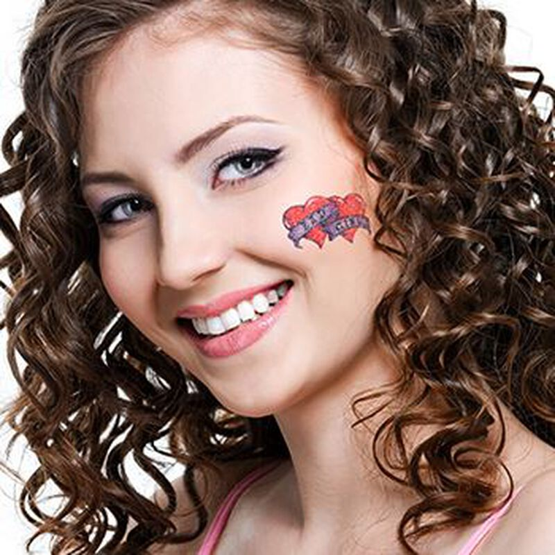 Glitter Bad Girl Hearts Temporary Tattoo image number null