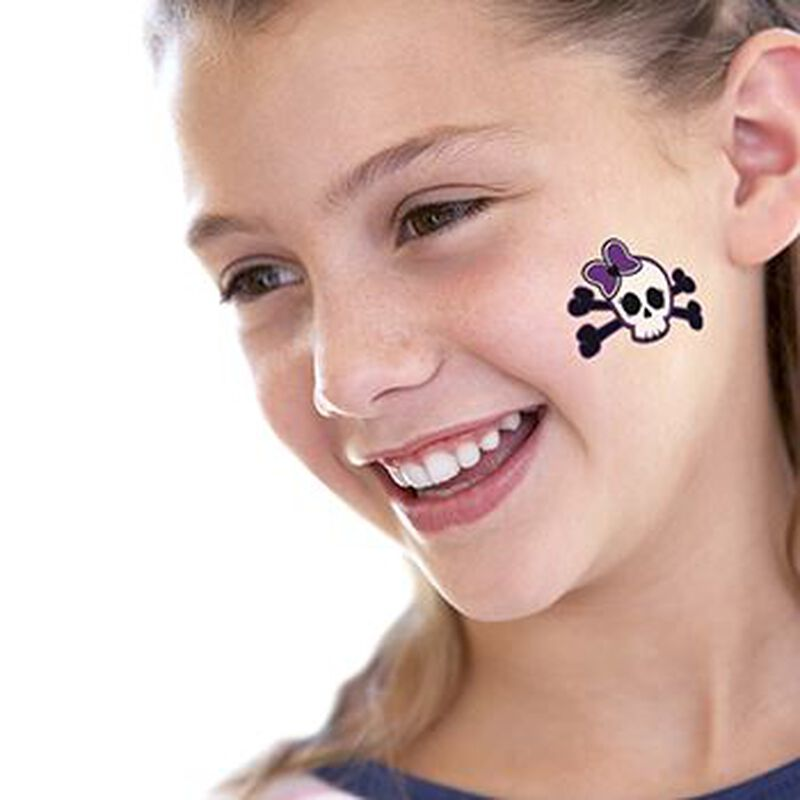 Pretty Punk Skull Temporary Tattoo image number null