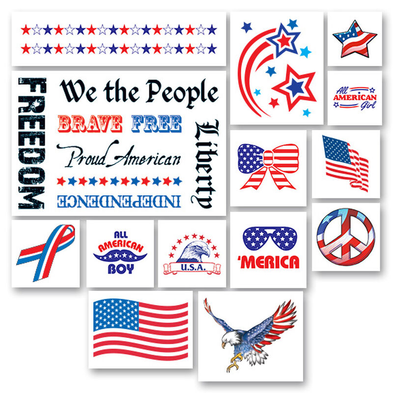 Patriotic Pack of Temporary Tattoos image number null