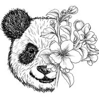 Floral Panda Temporary Tattoo