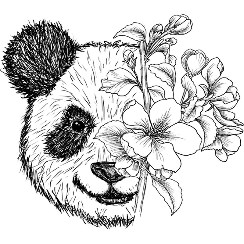 FLORAL PANDA TEMPORARY TATTOO image number null