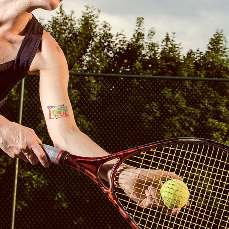 Metallic True Love Tennis Temporary Tattoo image number null
