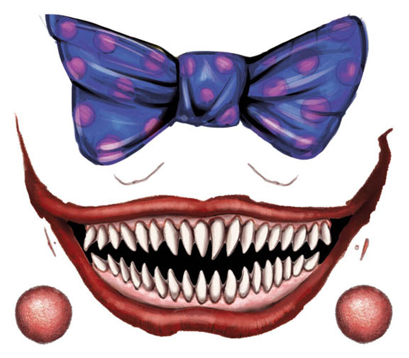 Creepy Blue Clown Smile and Bow Temporary Tattoo image number null