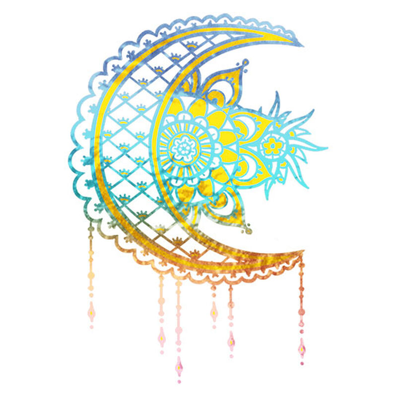 Metallic Bohemian Moon Temporary Tattoo image number null