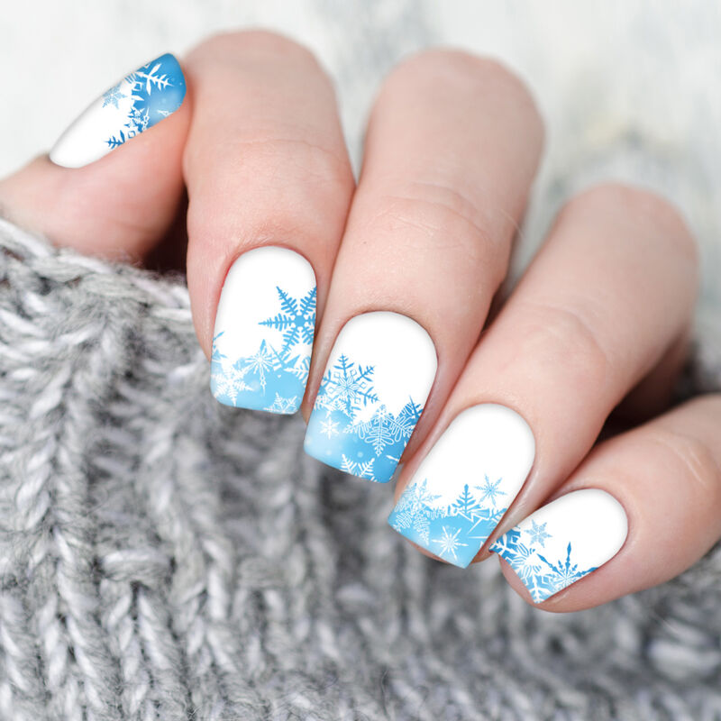 Blue Snowflake Nail Temporary Tattoo In Use image number null