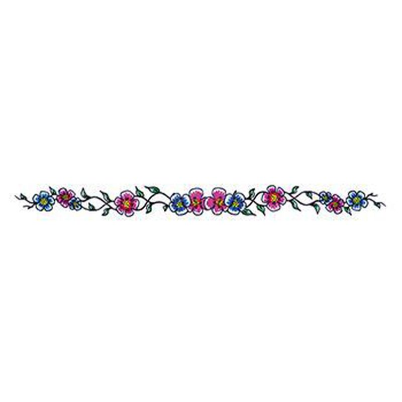 Blue and Purple Flowers Temporary Tattoo image number null