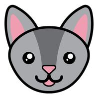 Chartreux Cat Face Temporary Tattoo