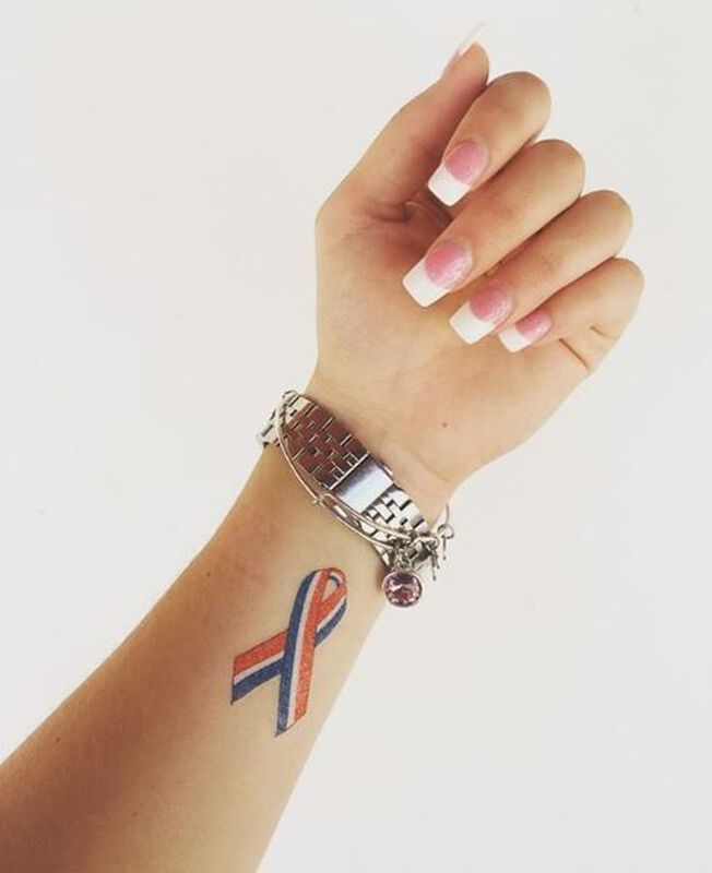 American Flag Cause Ribbon Temporary Tattoo image number null