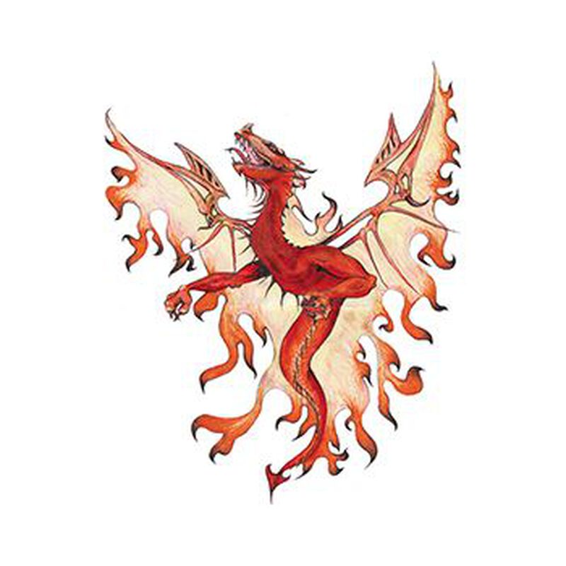 Mythical Orange Dragon Temporary Tattoo image number null