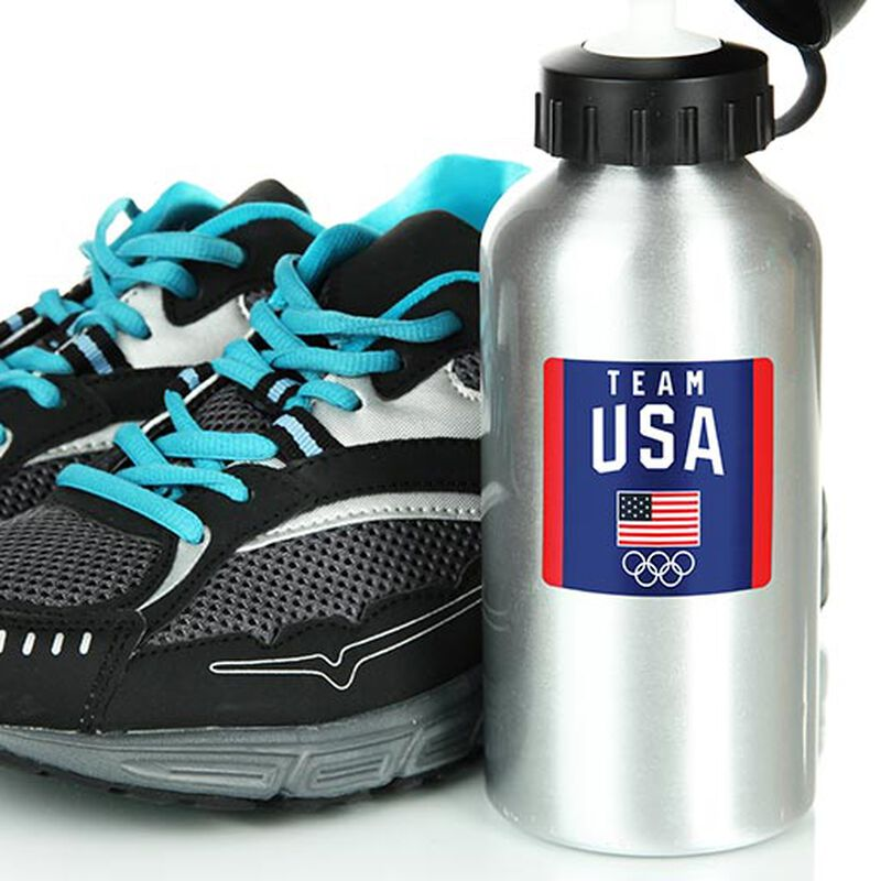 team usa logo with flag and rings sticker on water bottle image number null