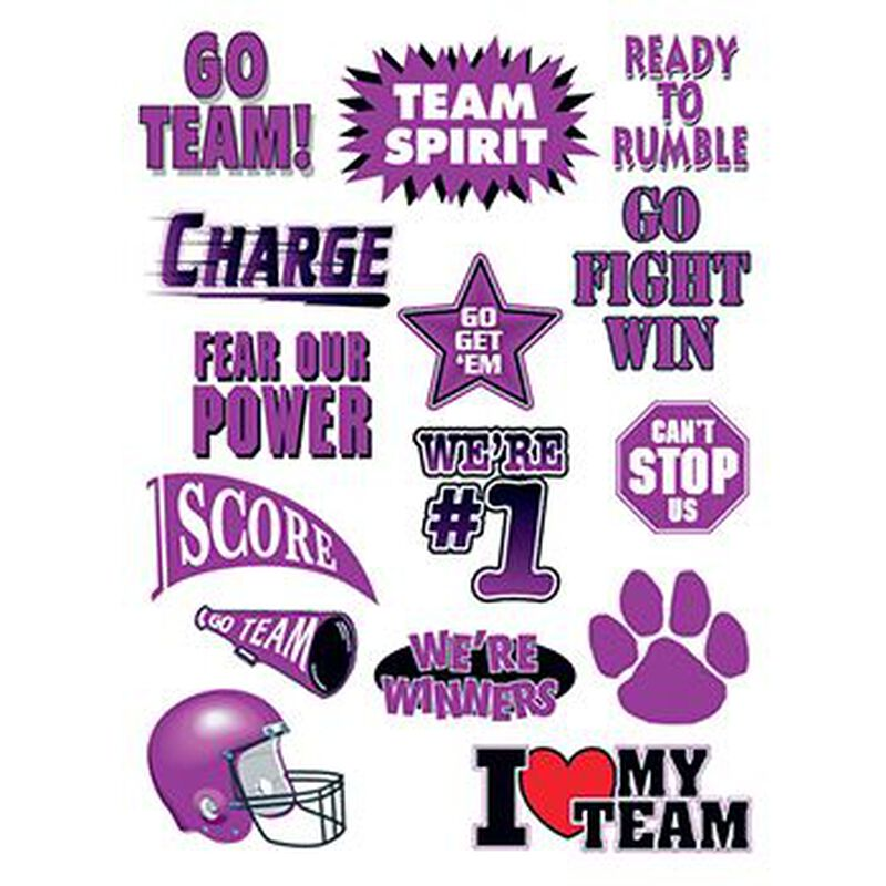 Go Team Purple Set of Sports Temporary Tattoo image number null