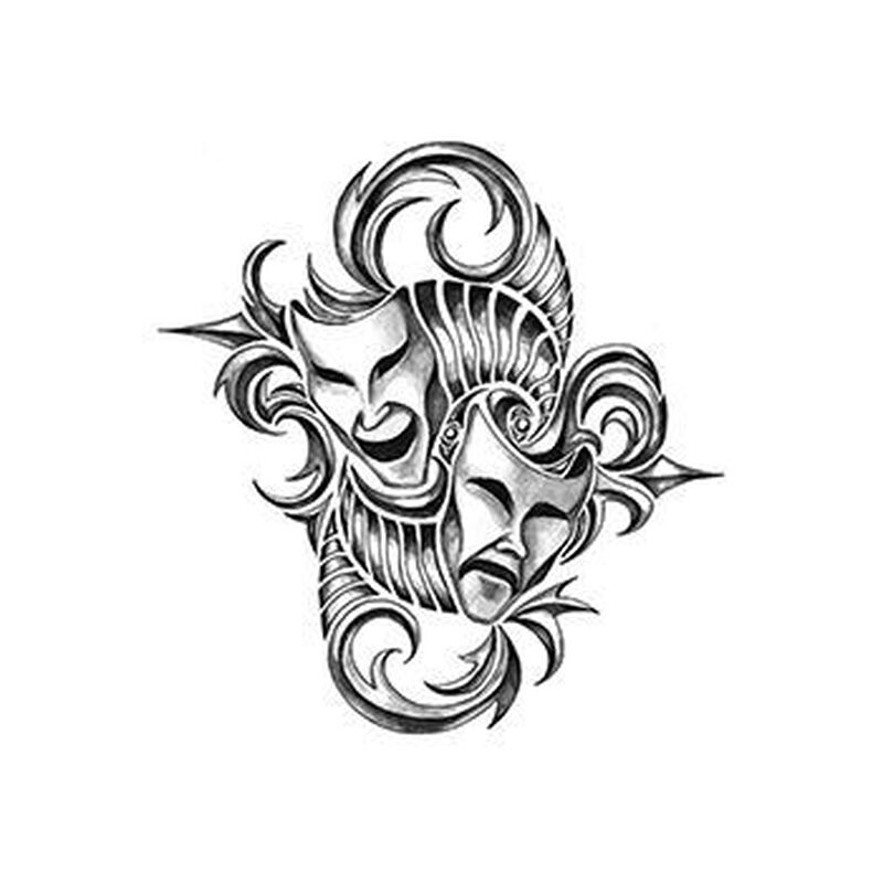 Iron Tribal Masks Temporary Tattoo image number null