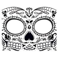 Glow in the Dark Day of the Dead Face Temporary Tattoo