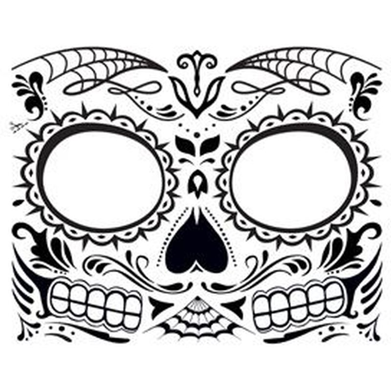 Glow in the Dark Day of the Dead Face Temporary Tattoo image number null