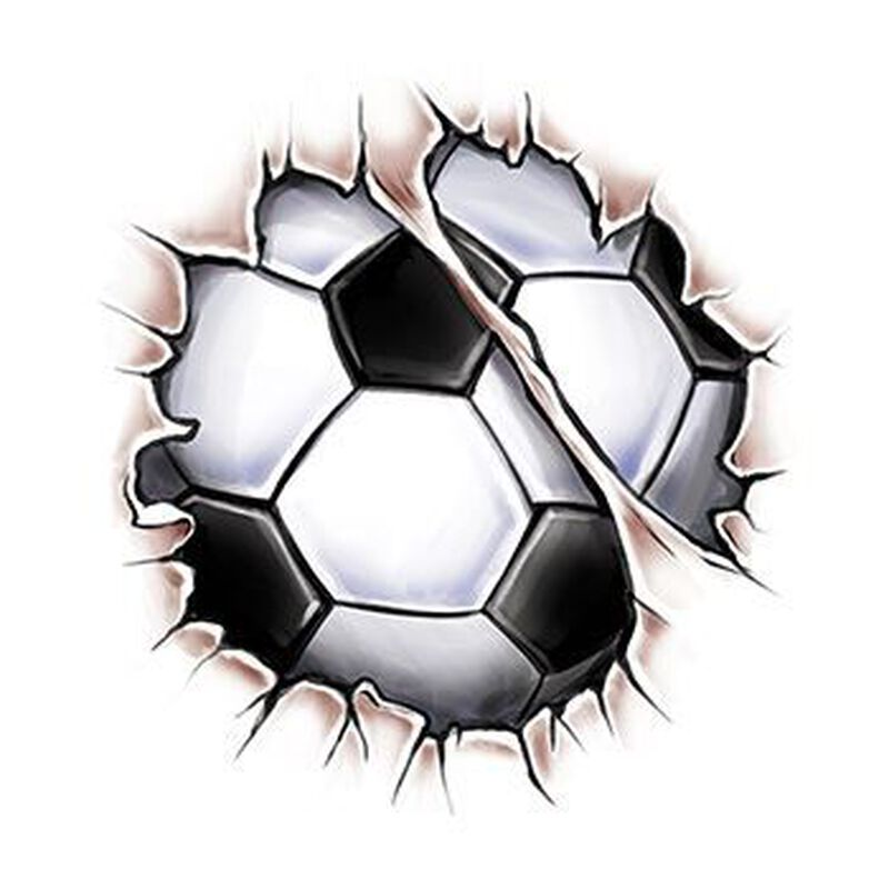 Break Through Soccer Ball Temporary Tattoo image number null
