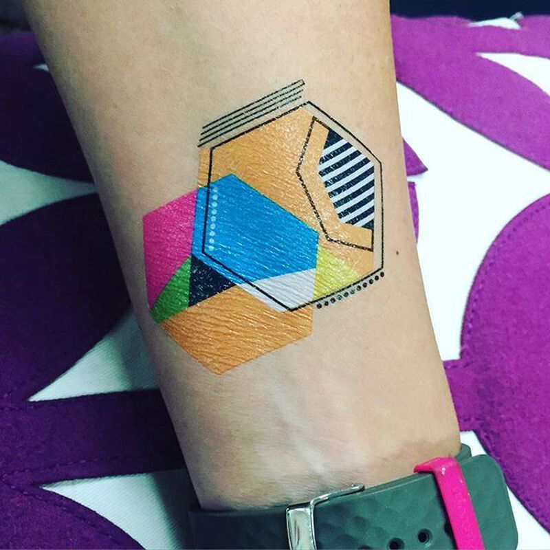 Geometric Hexagon Temporary Tattoo image number null