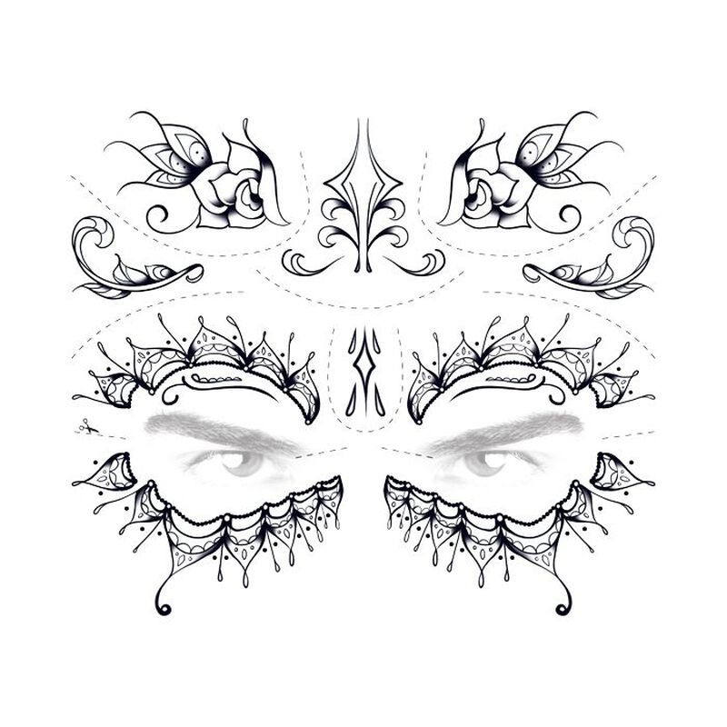 Day of the Dead Lace Temporary Tattoo image number null