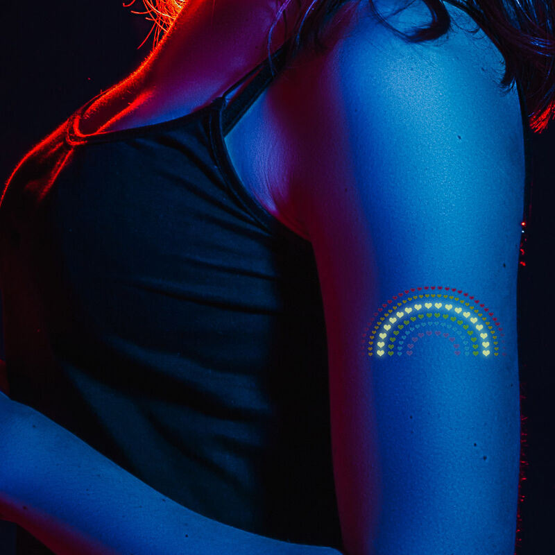 Heart Rainbow with Reveal Glow-in-the-Dark Temporary Tattoo Glow image number null