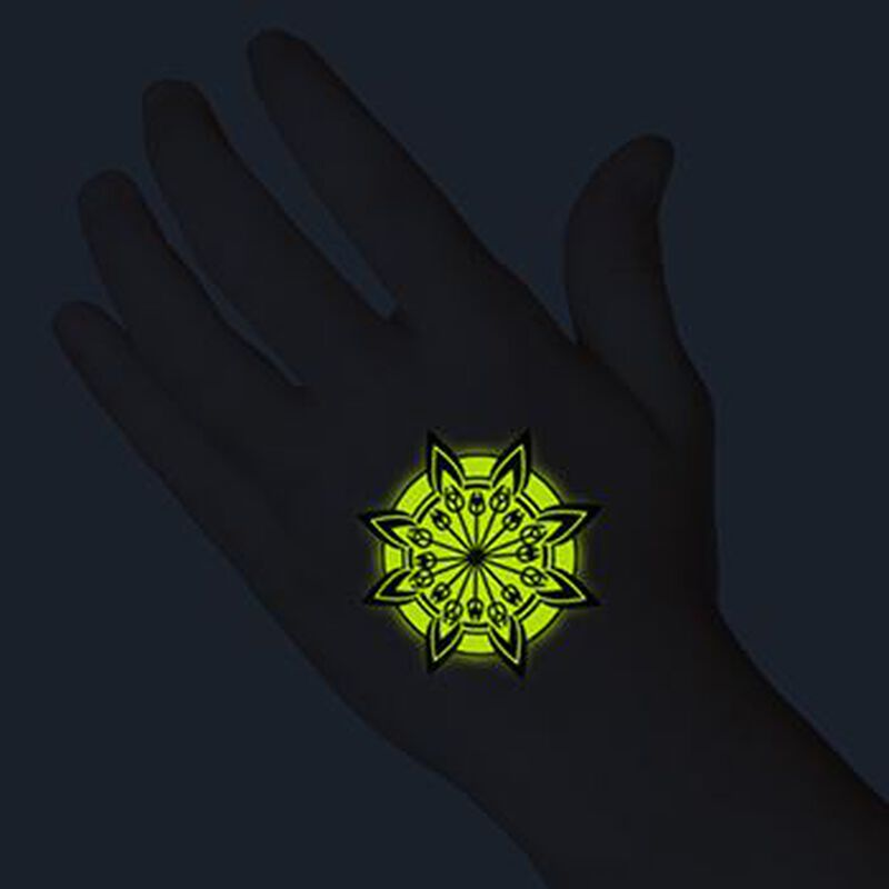 Glow in the Dark Tribal Flower Temporary Tattoo image number null