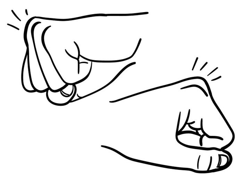 Fist Bump Hands Temporary Tattoo image number null