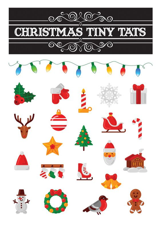Christmas Tiny Tats Temporary Tattoos image number null