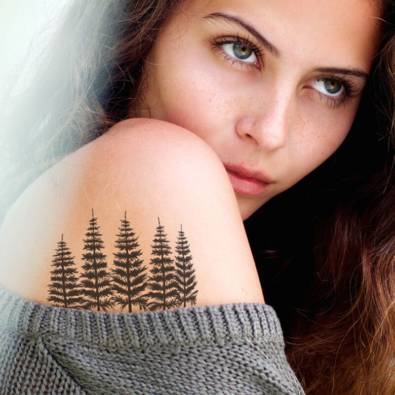 Group of Pine Trees Temporary Tattoo image number null