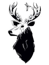 Floral Deer Temporary Tattoo