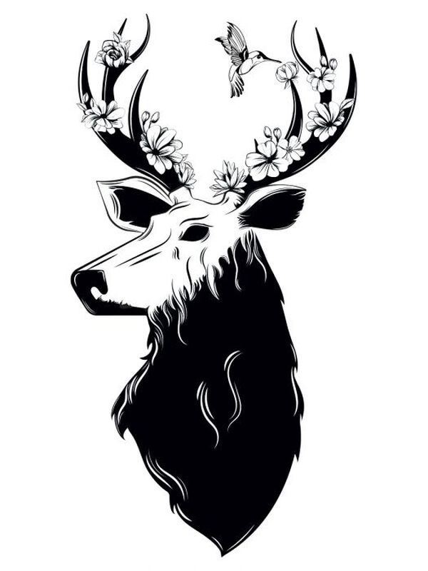 Floral Deer Temporary Tattoo image number null