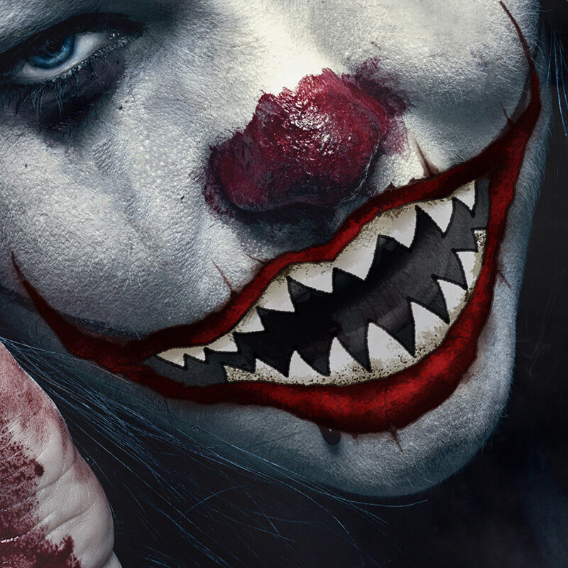 Red Scary Clown Mouth Costume Tattoo image number null