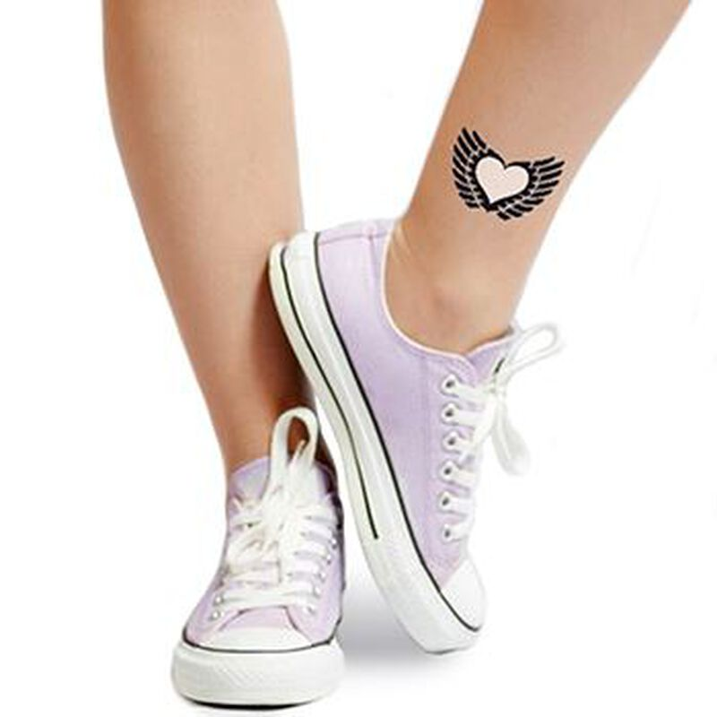 Glow in the Dark Winged Heart Temporary Tattoo image number null