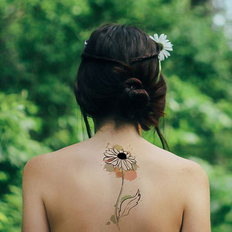 Tall Black-Eyed Susan Temporary Tattoo image number null