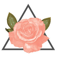 Coral Rose With Triangle Temporary Tattoo
