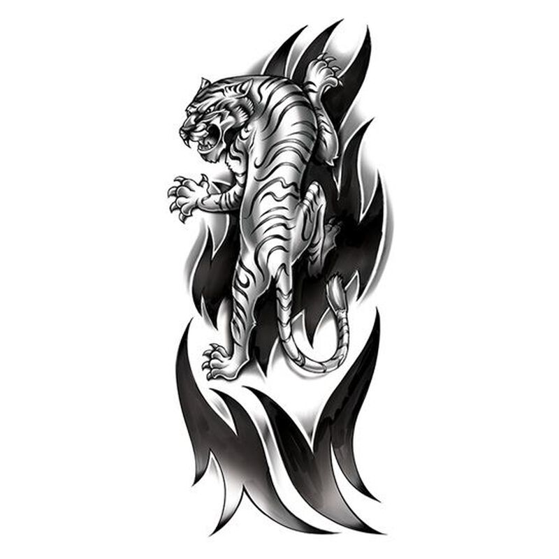 Ferocious Tiger Black & White Temporary Tattoo image number null