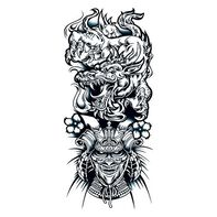 Chinese Dragon and Warrior Sleeve Temporary Tattoo