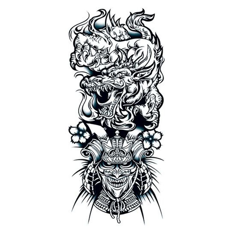 Chinese Dragon and Warrior Sleeve Temporary Tattoo image number null