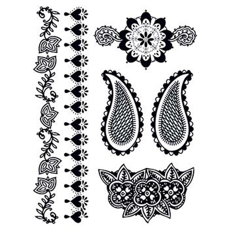 Henna: Deeply Black Temporary Tattoo Set image number null