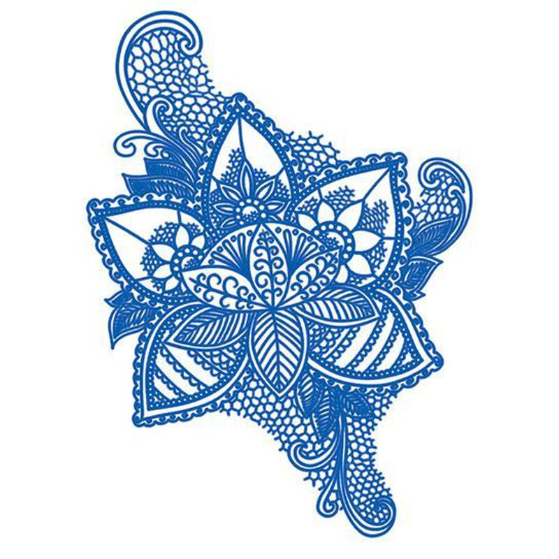 Delft Blue Flower Temporary Tattoo image number null