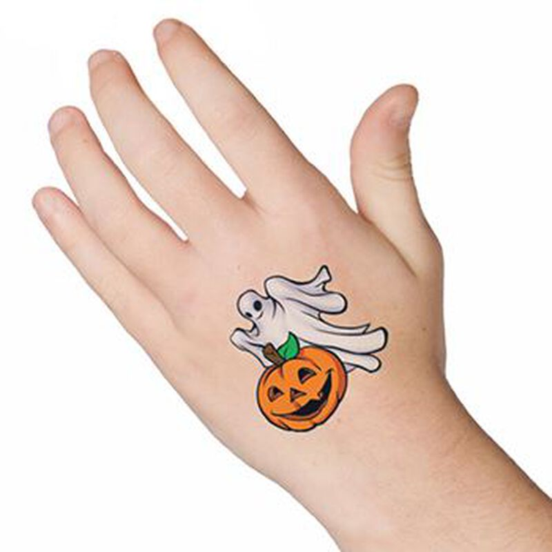 Ghost and Pumpkin Temporary Tattoo image number null