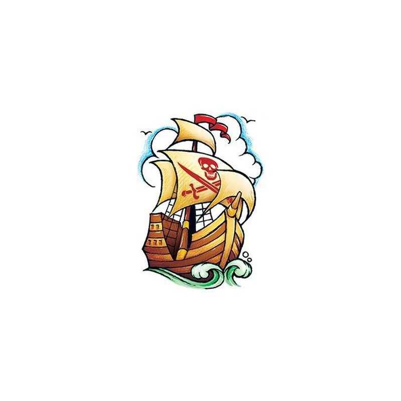 Vintage Pirate Ship Temporary Tattoo image number null