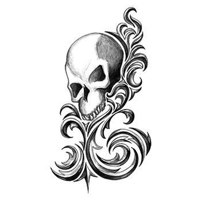 Iron Tribal Stylized Skull Temporary Tattoo image number null