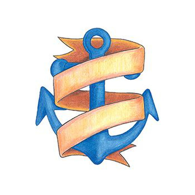 Traditional Anchor with Banner Temporary Tattoo image number null