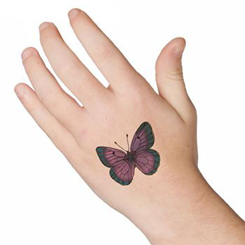 Purple and Green Butterfly Temporary Tattoo image number null