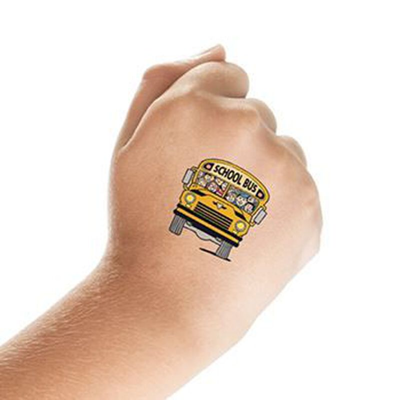 School Bus with Kids Temporary Tattoo image number null