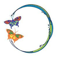 Glitter Blue and Orange Butterfly Circle Temporary Tattoo