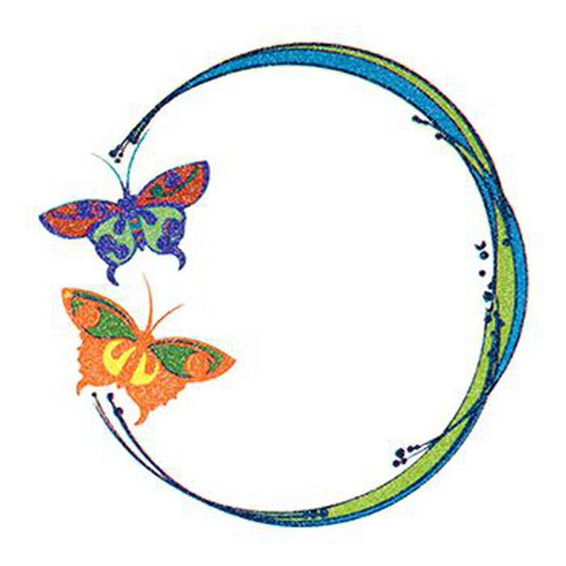 Glitter Blue and Orange Butterfly Circle Temporary Tattoo image number null
